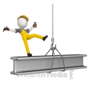 ID# 11138 - Figure Falling Off Beam - Presentation Clipart