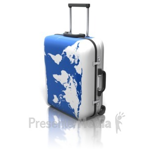 ID# 11211 - World Map On Suitcase - Presentation Clipart