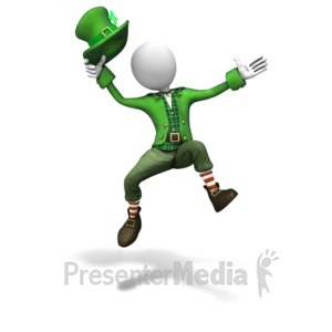ID# 11212 - Stick Figure Leprechaun Jumping - Presentation Clipart