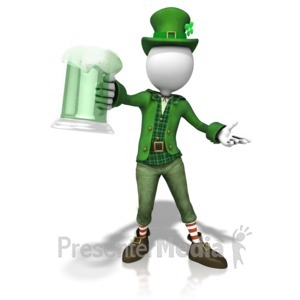 ID# 11229 - Stick Figure Leprachaun Cheers - Presentation Clipart