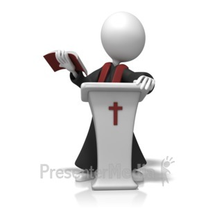 ID# 11267 - Pastor In Pulpit - Presentation Clipart