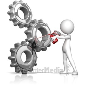 ID# 11306 - Figure Oiling Gears - Presentation Clipart