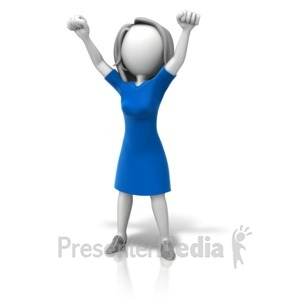 ID# 11340 - Woman Celebration Arms Up - Presentation Clipart