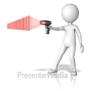 ID# 11353 - Figure Pointing Scanner - Presentation Clipart
