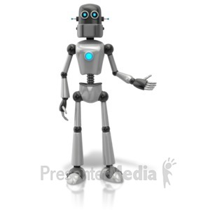 ID# 11426 - Retro Robot Presenting To Side - Presentation Clipart