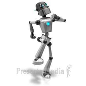 ID# 11427 - Retro Robot Happy Walk - Presentation Clipart