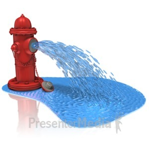 ID# 11471 - Fire Hydrant Spray Water - Presentation Clipart
