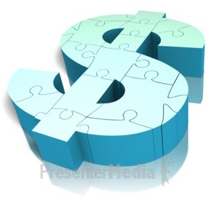 ID# 11484 - Money Symbol Puzzle Angled - Presentation Clipart