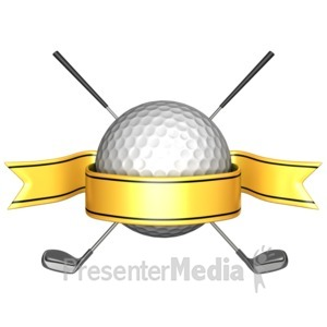 ID# 11498 - Golf Ball Crossed Clubs Banner - Presentation Clipart