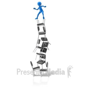 ID# 11523 - Balance On Chairs - Presentation Clipart