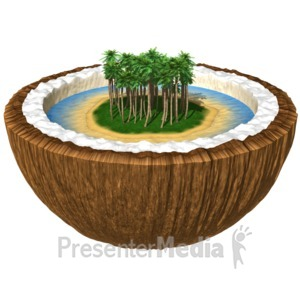 ID# 11532 - Island in a Coconut - Presentation Clipart