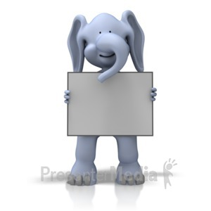 ID# 11543 - Elephant With Sign - Presentation Clipart