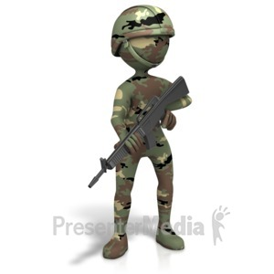ID# 11557 - Military Figure Camo Gun - Presentation Clipart