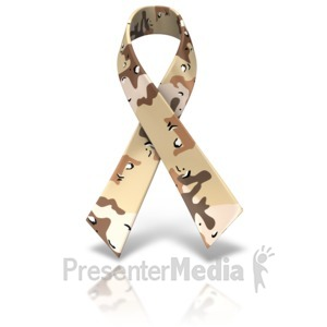 ID# 11566 - Desert Camo Awareness Ribbon - Presentation Clipart