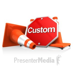 ID# 11627 - Custom Sign With Traffic Cones - Presentation Clipart