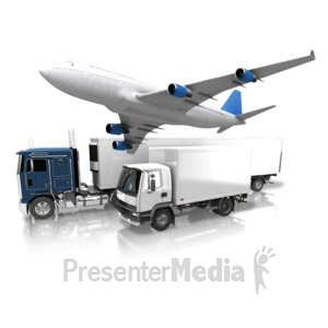 ID# 11631 - Transportation By Land And Air - Presentation Clipart
