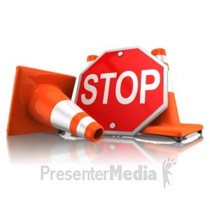 ID# 11636 - Stop Sign With Traffic Cones - Presentation Clipart