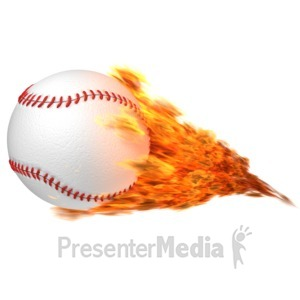 ID# 11654 - Baseball Flaming - Presentation Clipart