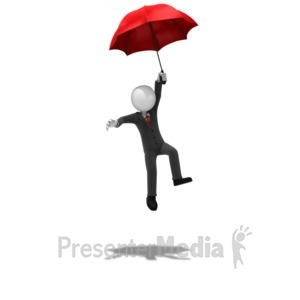ID# 11674 - Business Figure Landing Safely - Presentation Clipart