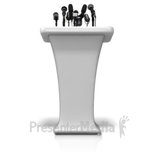 ID# 11679 - Podium With Many Microphones - Presentation Clipart