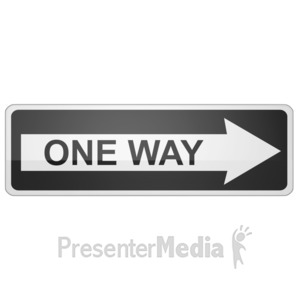 ID# 11713 - Long One Way Sign Right - Presentation Clipart