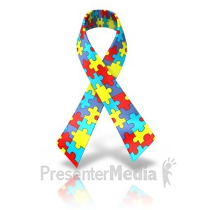 ID# 11808 - Autism Single Ribbon - Presentation Clipart