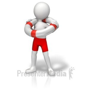 ID# 11876 - Figure With Life Preserver - Presentation Clipart