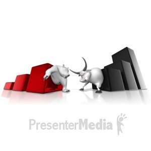 ID# 11877 - Wall Street Bear Bull Graph Battle - Presentation Clipart