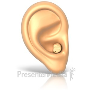 ID# 11889 - Hearing Aid in Ear - Presentation Clipart