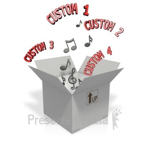 ID# 11963 - Custom Text And Music Notes Coming Out O - Presentation Clipart