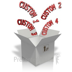 ID# 11971 - Custom Text Coming Out Of A Box - Presentation Clipart
