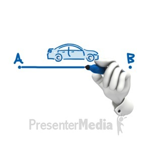 ID# 11975 - Hand Drawing Car A To B - Presentation Clipart