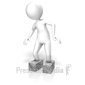 ID# 11989 - Stick Figure Cement Shoes - Presentation Clipart