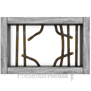 ID# 12056 - Jail Window Bars Broken - Presentation Clipart