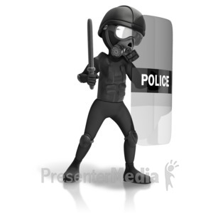 ID# 12058 - Riot Police Geared Up - Presentation Clipart