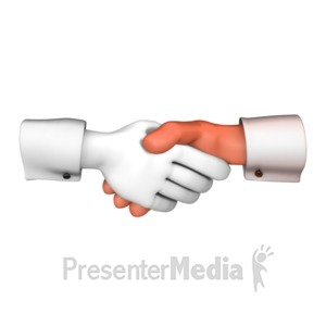 ID# 12099 - Hand Shaking Standout - Presentation Clipart