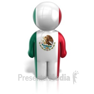 ID# 12104 - Mexico Peg Figure Flag Icon - Presentation Clipart
