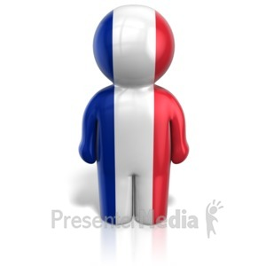 ID# 12108 - France Peg Figure Flag Icon - Presentation Clipart