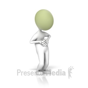ID# 12142 - Stick Figure Stomach Ache - Presentation Clipart