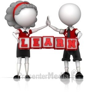 ID# 12276 - School Children Holding Learn Blocks - Presentation Clipart