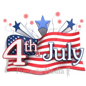 ID# 12285 - American Flag Behind Fourth of July Text - Presentation Clipart