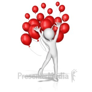 ID# 12366 - Balloon Jump Celebration - Presentation Clipart