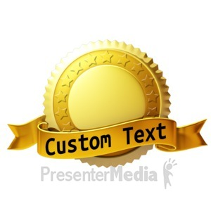 ID# 12419 - Custom Gold Seal With Ribbon - Presentation Clipart