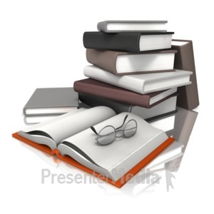 ID# 12457 - Books With Glasses - Presentation Clipart