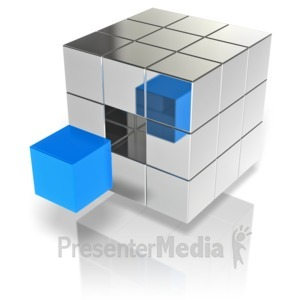 ID# 12459 - Cube Stand Out - Presentation Clipart