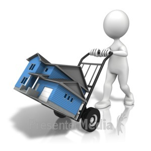 ID# 12495 - House Moving Cart - Presentation Clipart