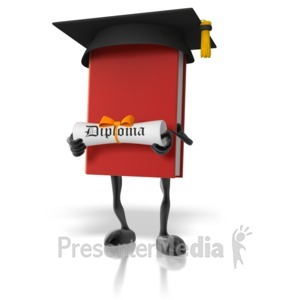 ID# 12498 - Book With Diploma - Presentation Clipart