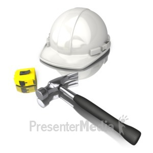 ID# 12511 - Construction Worker Tools White Hard Hat - Presentation Clipart