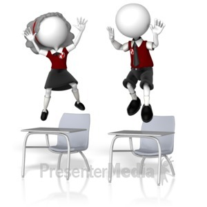 ID# 12532 - Students Jumping On Desks - Presentation Clipart