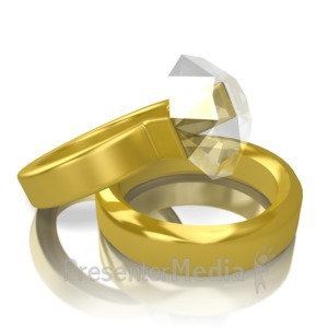 ID# 12543 - Two Gold Rings - Presentation Clipart